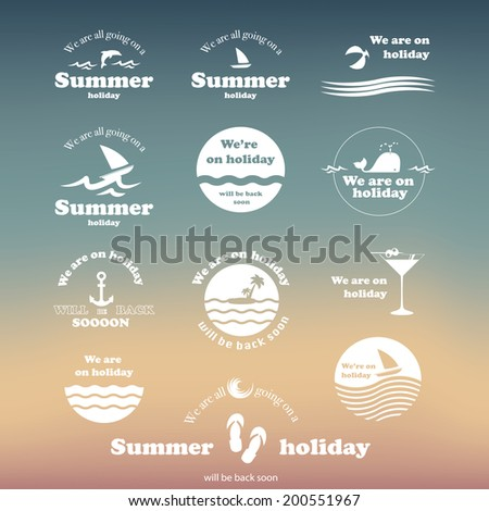 Summer Typography Design with Labels and Icons - stock vector