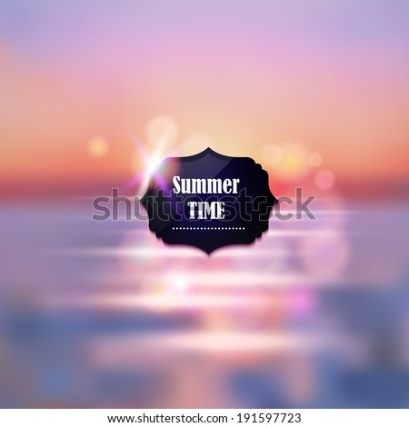 Summer vacation abstract background. Sunset on the sea beach illustration - stock vector