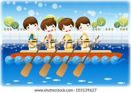 Summer Vacation and Happy Travel - enjoy boating on a lake with cute smiling friends on a background of blurred patterns in blue sky and shiny water - stock vector