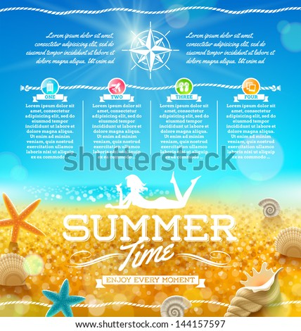 Summer vacation and travel design - stock vector