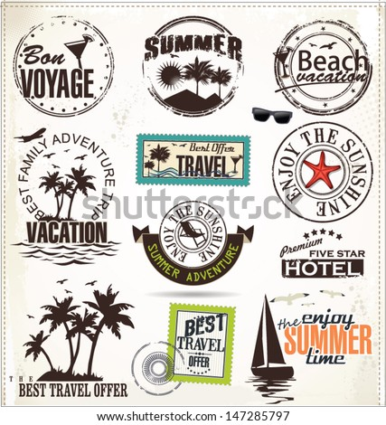 Summer vacation and travel labels  - stock vector