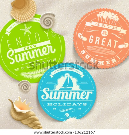 Summer vacation and travel labels and sea shells on a beach sand - vector illustration. (elements outside of the art-board is not cut off - they with clipping mask) - stock vector