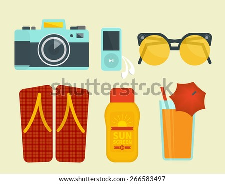 Summer vacation attributes. Illustration of camera, sunglasses, sunscreen and cocktail - stock vector