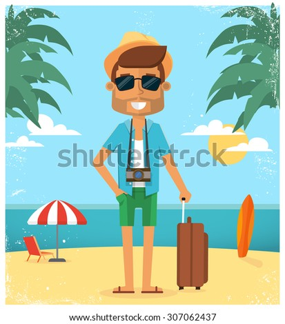 Summer vacation background. Vector character illustration - stock vector