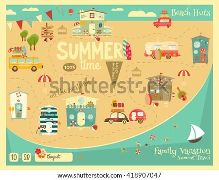 Summer Vacation Card. Beach Huts, Caravans, Cars on Summer Poster. Seafront. Camping. Vector Illustration. - stock vector
