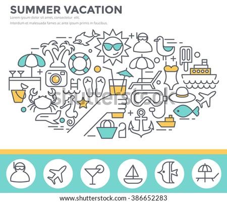 Summer vacation concept illustration, thin line flat design - stock vector