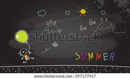 Summer vacation for kids at school. Girl running in nature. Chalk on blackboard sketch, vector illustration doodle.  - stock vector