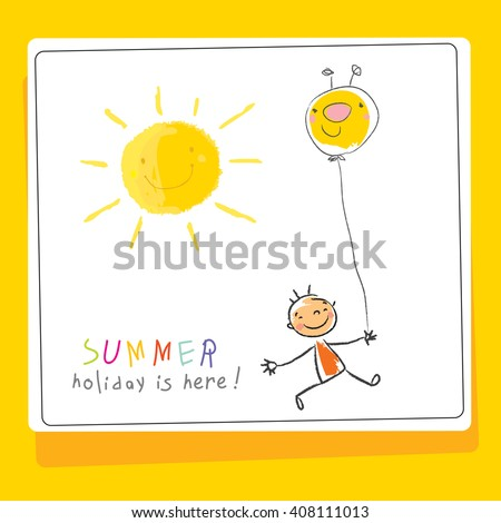 Summer vacation, holiday for kids at school vector illustration. Schoolgirl running with a balloon. Sketch, doodle style.  - stock vector