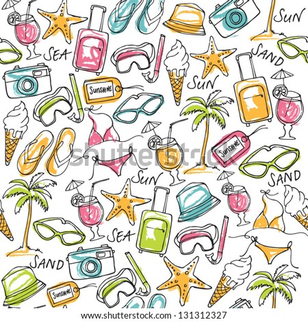 Summer vacation holiday icons seamless background - stock vector