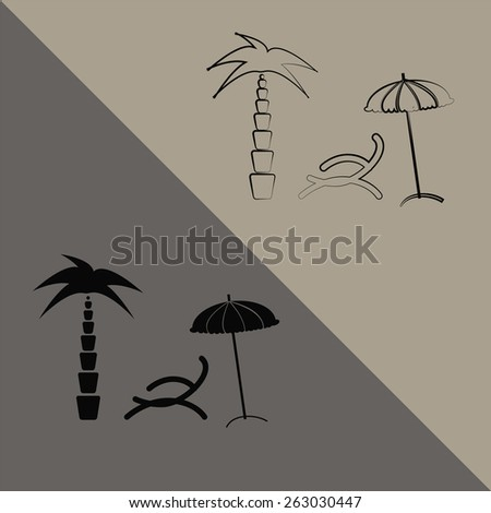 Summer vacation outline icon - stock vector