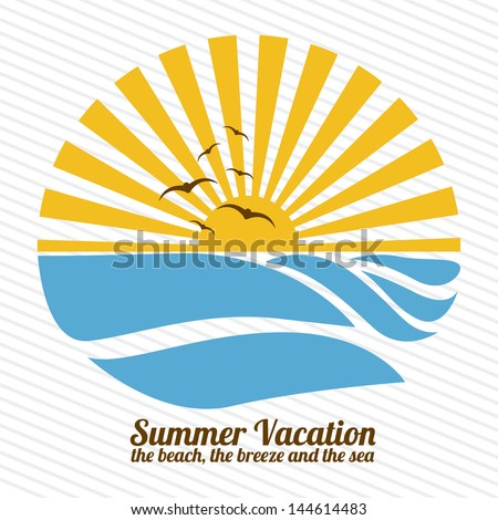 summer vacation over lineal background vector illustration - stock vector