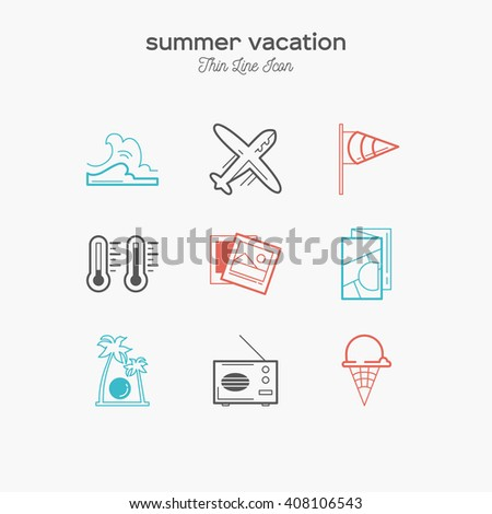 Summer vacation, recreation, tropical, tourism, thin line color icons set, vector illustration - stock vector