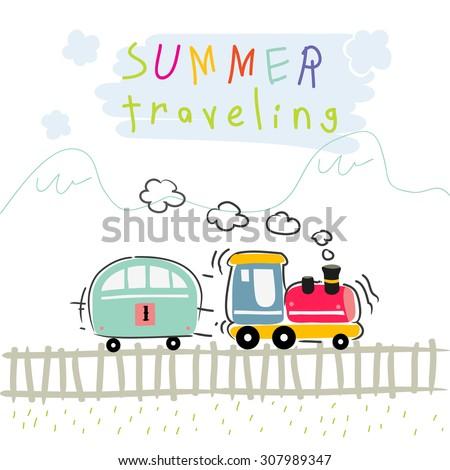 Summer vacation train travel, kids vector illustration.  - stock vector