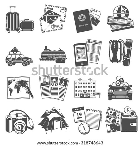 Summer vacation travel symbols icons set of transportation and sightseeing guide map black abstract isolated vector illustration - stock vector