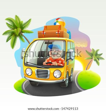 summer vacation trip illustration - stock vector
