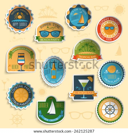 Summer vacation tropical paradise sunny beach party and yacht sale emblems stickers collection abstract isolated vector illustration - stock vector