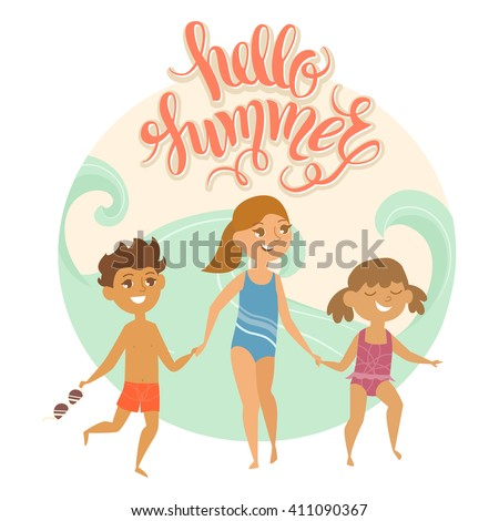 """Summer vacation. Vector illustration of kids on the beach isolated. Two girls and boy with sunglasses near the sea. Cartoon characters of young people. Hand drawn lettering """"Hello summer"""". - stock vector"""