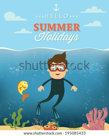 Summer vacation with diver character design. Vector illustration - stock vector