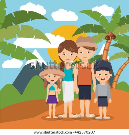 summer vacations in family design  - stock vector
