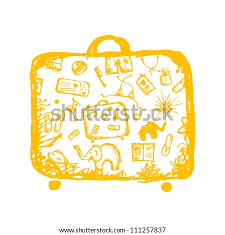 Summer vacations sketch, yellow suitcase for your design - stock vector