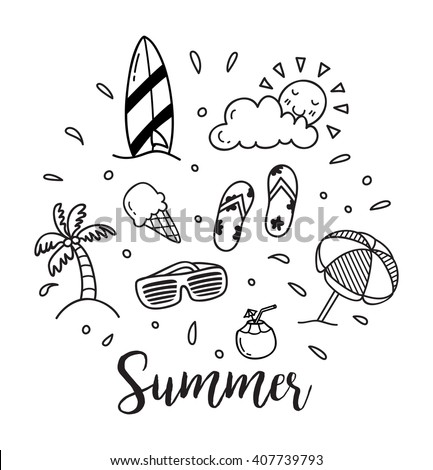 Summer vector icon in doodle style - stock vector