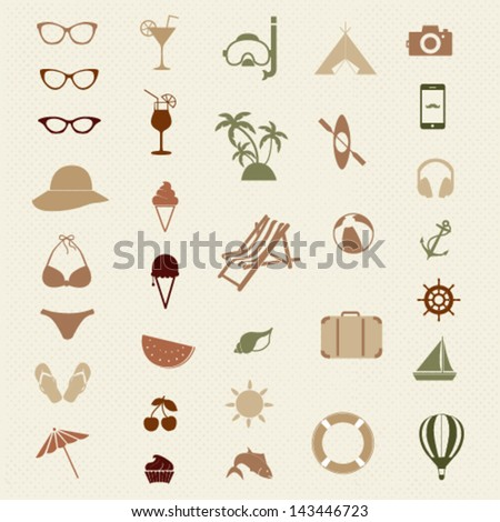 Summer vector icon set - stock vector