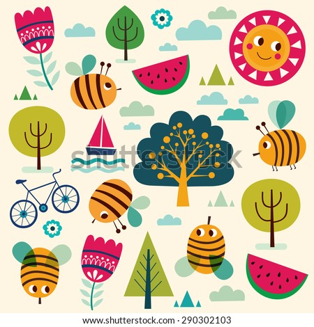 Summer vector pattern with fun bees and summer symbols: trees, sun, watermelon, bicycle. - stock vector