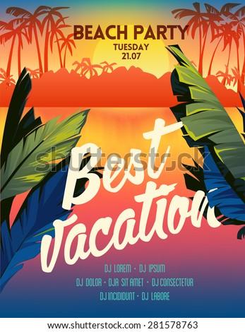 Summer vector poster sunset beach party - stock vector