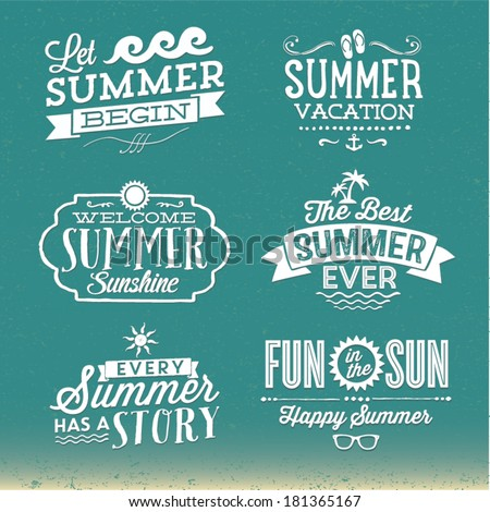 Summer Vector Set | Happy Summer, Summer Vacation, Fun in the Sun, Every Summer Has A Story, Let Summer Begin, Welcome Summer Sunshine - stock vector