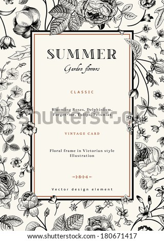 Summer vertical vector vintage elegant card with black garden flowers. Roses, forget-me, delphinium on beige background with golden frame. Design template. - stock vector