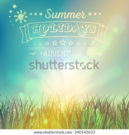 Summer view poster with typography. Illustration of summer holiday can be used for flyers, banners, textures, print and web. Beautiful vector background. - stock vector