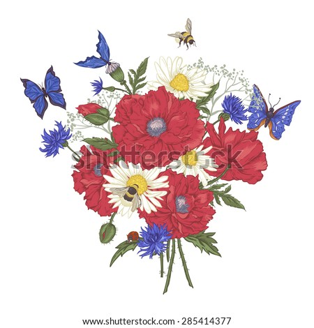 Summer Vintage Floral Bouquet. Greeting Card with Blooming Red Poppies Chamomile Ladybird Daisies Cornflowers Bumblebee Bee and Blue Butterflies. Vector Illustration on White Background - stock vector