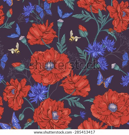 Summer Vintage Floral Seamless Pattern with Blooming Red Poppies Cornflowers Ladybird Bumblebee Bee and Blue Butterflies. Vector Illustration on Dark Background - stock vector
