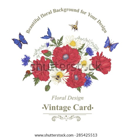 Summer Vintage Greeting Card with Blooming Red Poppies Chamomile Ladybird Daisies Cornflowers Bumblebee Bee and Blue Butterflies. Vector Illustration on White Background - stock vector