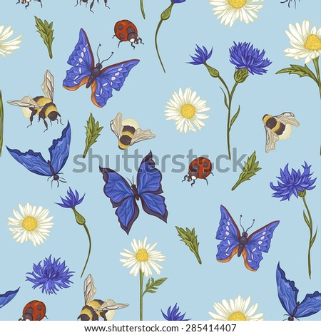 Summer Vintage Seamless Pattern with Blooming Chamomile Daisies Ladybird Cornflowers Bumblebee Bee and Blue Butterflies. Vector Illustration on Blue Background - stock vector