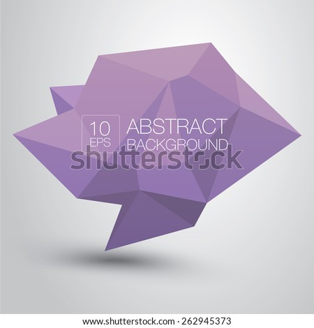 summer violet Conceptual polygonal geometric speech bubble. Abstract vector Illustration, low poly style paper. Stylized design element. Background design for banner, poster, flyer, cover, brochure. - stock vector