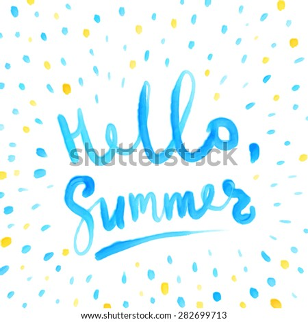Summer Watercolor Design. Summer Typography Lettering. Aquarelle Style. - stock vector