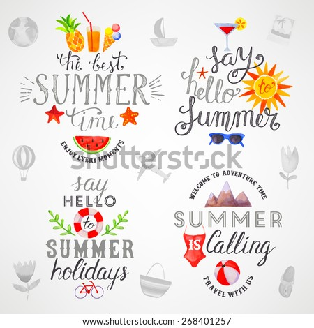 Summer watercolor lettering set - stock vector