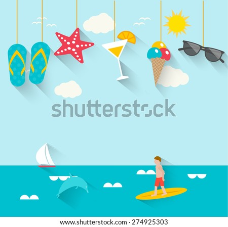 Summertime background with hanging summer icons, sea, surfer, boat, vector illustration.  - stock vector