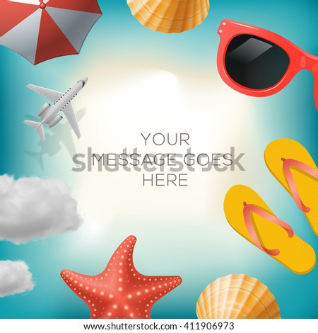 Summertime background with summer icons, airplane, sun umbrella, flip flops, sunglasses, star fish, shell, cloud, vector illustration. - stock vector