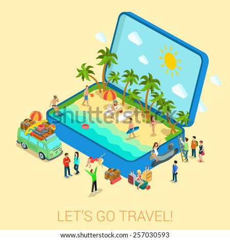 Summertime travel beach vacation flat 3d web isometric infographic tourism concept vector template. Open suitcase with seashore hippie van surfer young girls in bikini. Creative people collection. - stock vector