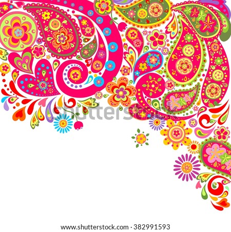 Summery colorful background with paisley - stock vector