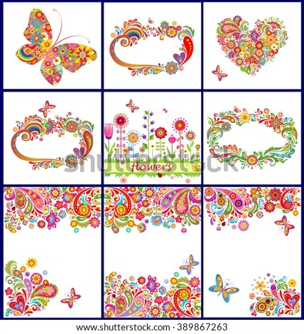 Summery colorful backgrounds - stock vector