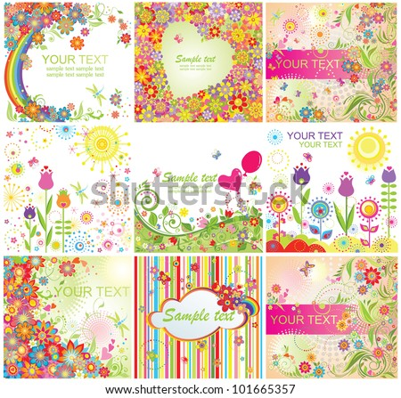 Summery colorful cards - stock vector