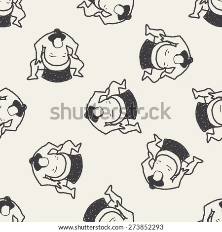 sumo doodle seamless pattern background - stock vector