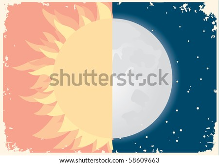 Sun and moon symbol.Vector vintage - stock vector