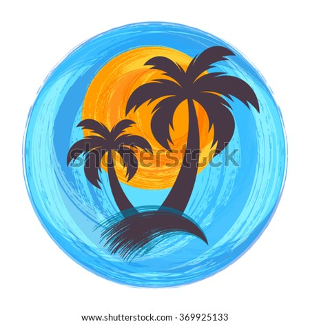 Sun and palm trees brush strokes vector illustration - stock vector