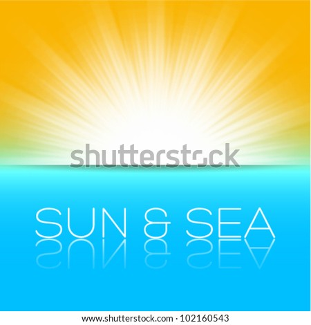 sun and sea, beautiful vector illustration - stock vector