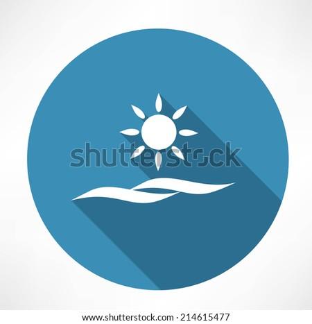 sun and sea icon - stock vector