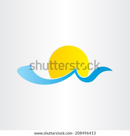 sun and sea wave summer water icon blue tropical tourism - stock vector